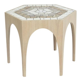 Mid-Century Cerused Oak Hexagonal Tiled Side Table For Sale