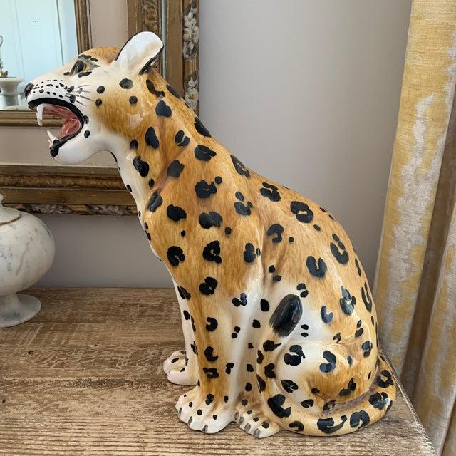 Ceramic Vintage Italian Hollywood Regency Style Ceramic Leopard For Sale - Image 7 of 7