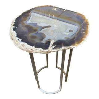 Agate Quartz Stone Side Table For Sale
