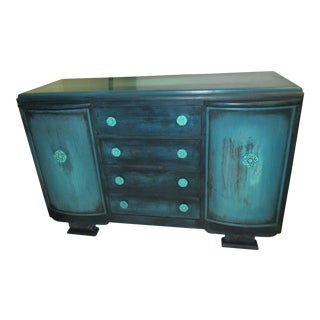 1960s Mid- Century Modern Aqua Buffet For Sale