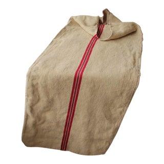 Antique Grain Sack Feedsack European Red and Green Stripe Christmas Bag ~ For Sale