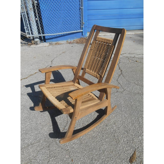 Mid-Century Modern Mid-Century Modern Hans Wegner Style Woven Rope Rocking Chair For Sale - Image 3 of 8
