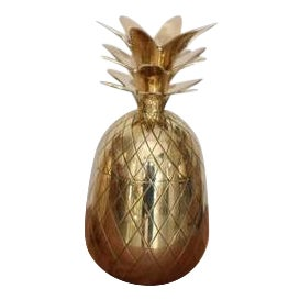 One of two Huge Brass Pineapple Ice Bucket or Trinket or Candy Box For Sale