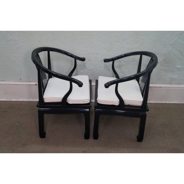 Ebonized Asian Style Armchairs by Century - A Pair - Image 3 of 10