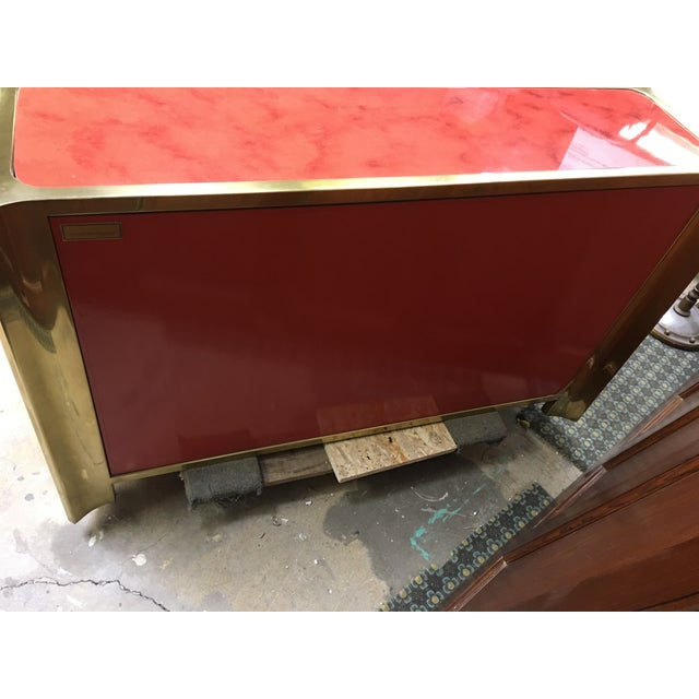 Red 1970s Vintage Mastercraft Brass and Enameled Wood Cabinet For Sale - Image 8 of 9