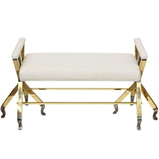 Mid-Century Modern Brass and Steel and Upholstered 3-Legged Bench For Sale