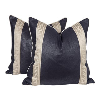 Navy Metallic Linen Greek Key Pillows, a Pair For Sale