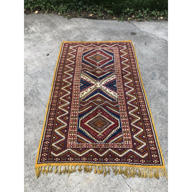 1950s 1950s Vintage Moroccan Hand Knotted Rug- 5′ × 8′6″ For Sale - Image 5 of 10
