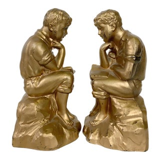 Vintage Boy Reading Metal Bookends - a Pair For Sale
