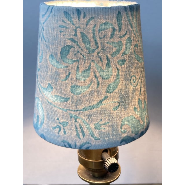 """A clip top chandelier shade handmade from Fortuny's Cimarosa pattern printed cotton. Measurements: top 3"""" side 4"""" bottom 4"""""""