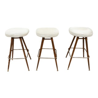 1960s French White Hide and Wood Bar Stools- Set of 3 For Sale