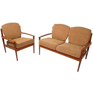 Grete Jalk Settee and Lounge Chair Set