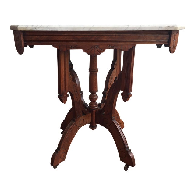 Victorian Square Marble Top Side Table Chairish