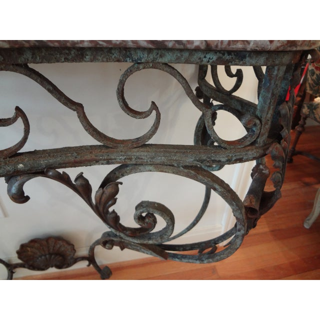 French Regency Wrought Iron & Marble Console Table For Sale - Image 5 of 9