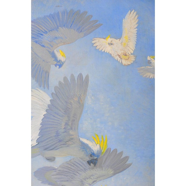 White Parrots, Oil Painting by J. Moessel For Sale - Image 4 of 10