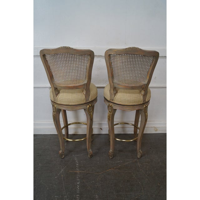 French Louis XV Style Swivel Bar Stools - Set of 3 For Sale - Image 4 of 10