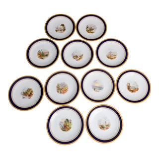 European Gold Edged Fine Hand Painted Plates - Set of 11 For Sale