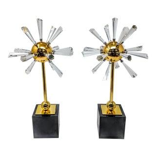 Polished Brass & Lead Crystal Sputnik Sculptures - Pair