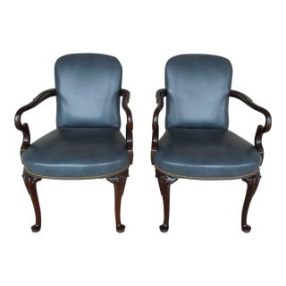 Hancock & Moore Leather Upholstered Mahogany Frame Accent Chairs - Pair For Sale