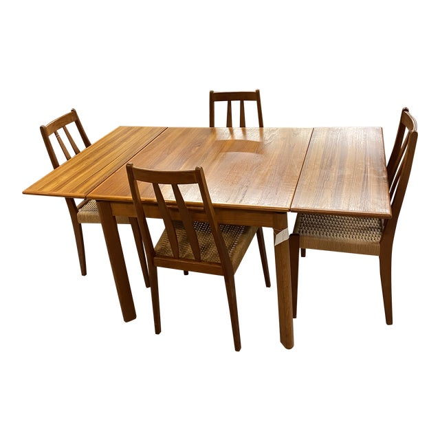 Danish Modern 1960s Brdr Furbo Teak Dining Table & 4 Chair MCM Midcentury Modern For Sale