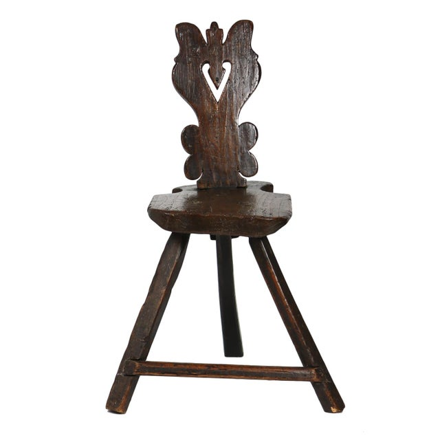 A Rustic Carved Oak Tyrolean Three Legged Chair; Austria Circa 1680 For Sale - Image 13 of 13
