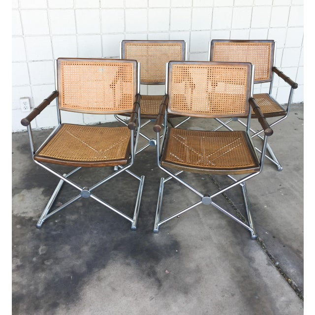 Mid-Century Faux Bamboo & Chrome Directors Chairs - Image 2 of 6