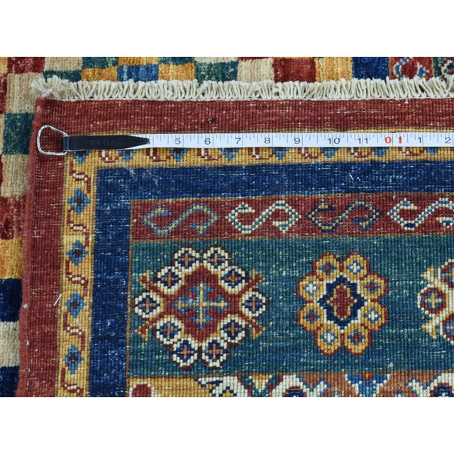 Kazak Khorjin Hand-Knotted Pure Wool Rug For Sale - Image 12 of 13