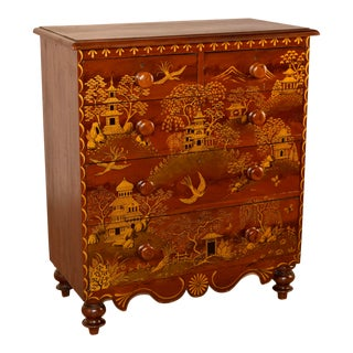 19th Century English Pine Chest With Chinoiserie Decoration For Sale
