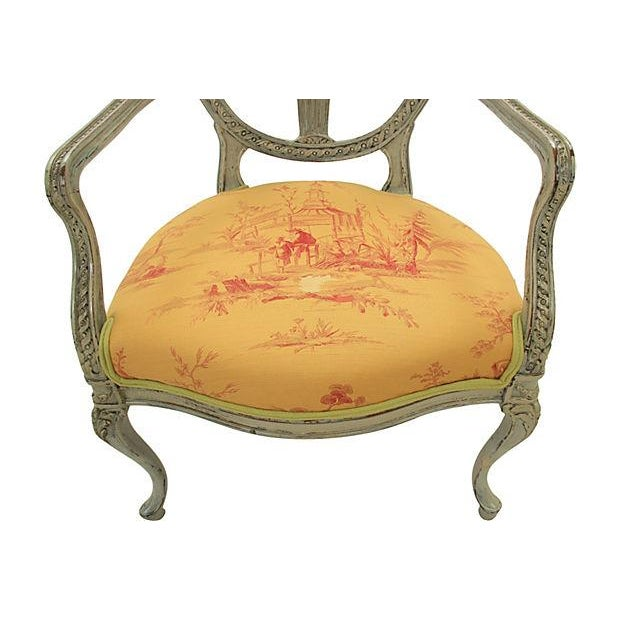 Antique Yellow Fauteuil Chairs - A Pair - Image 5 of 7