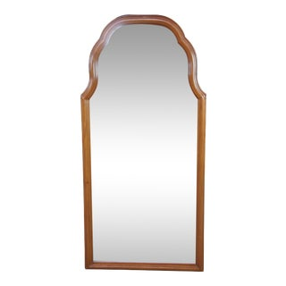 "Vintage Solid Mahogany Queen Anne Over Dresser or Wall Mirror - 48"" For Sale"
