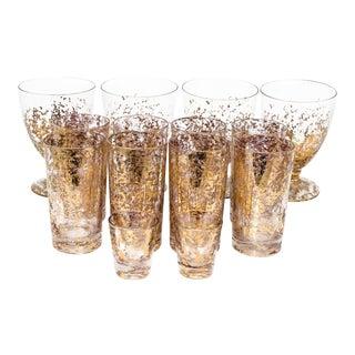 Festive Gold Flake Barware, 14 Pcs. For Sale