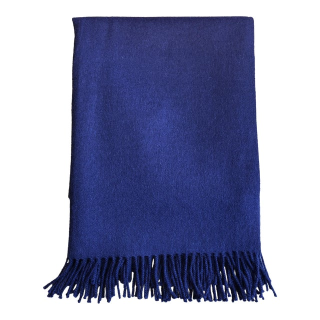 Peruvian Alicia Adams Classic Admiral Blue Alpaca Throw For Sale