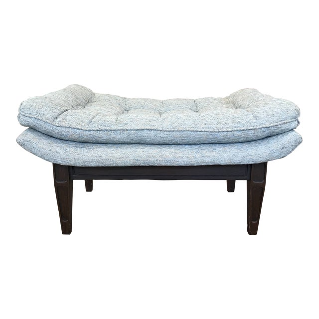 Ming Style Mid-Century Blue Tweed Tufted Ottoman For Sale