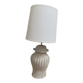 Farmhouse Vintage White Wicker Table Lamp For Sale