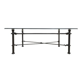 Mid-Century Modern Rectangular Wrought Iron Glass Top Coffee Table After Giacometti For Sale