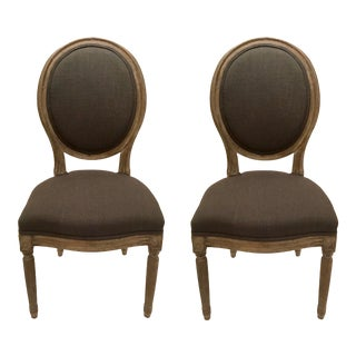 French Style Oval Back Charcoal Side Chair Pair For Sale