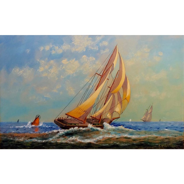 "E. D. Ward ""Sailboat Racing"" Painting, 1950s For Sale - Image 4 of 10"