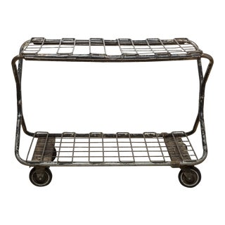 Early 20th C. Factory Wire Metal Rolling Cart C.1930 For Sale