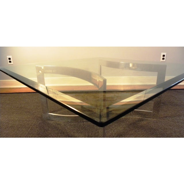 Milo Baughman Style Glass and Chrome Table - Image 9 of 9