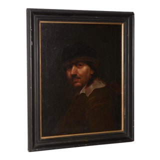 Antique Oil Portrait of a Young Rembrandt 19th Century For Sale