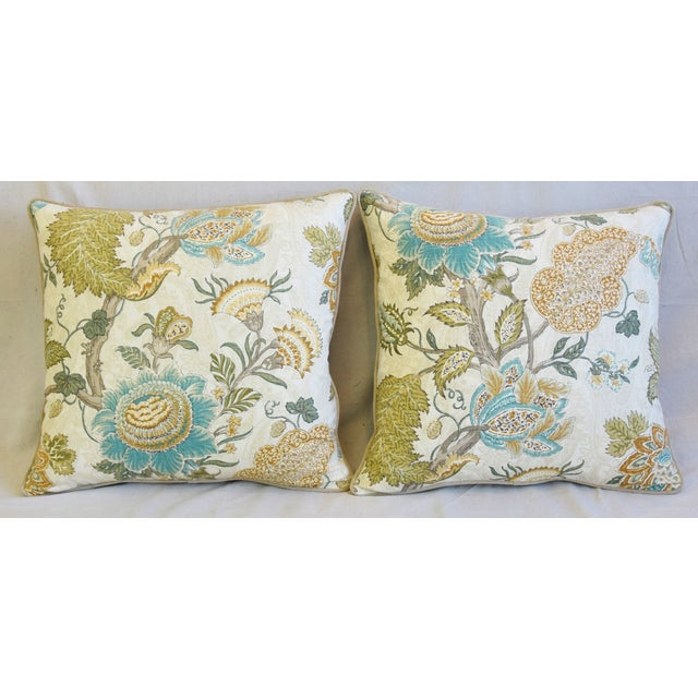 Pair of large custom-tailored pillows in unused French Jacobean floral printed cotton fabric depicting a beautiful...