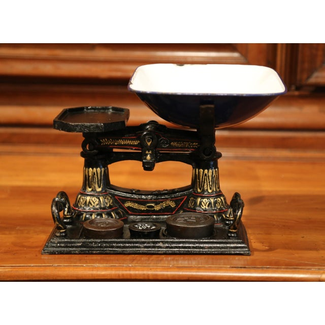 Black 19th Century English Painted Iron Scale With Weights For Sale - Image 8 of 8