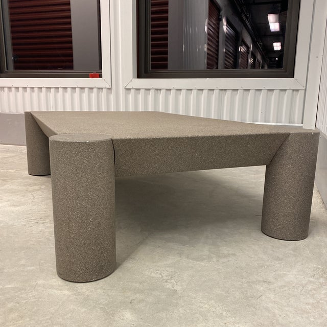 Grey Postmodern Beveled Coffee Table With Thick Column Legs For Sale - Image 10 of 13
