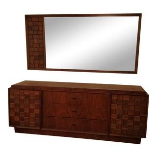 Mid-Century Brutalist Triple Dresser With Mirror For Sale