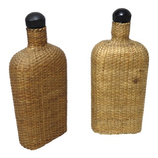 Antique Basket Woven Glass Flasks - a Pair For Sale
