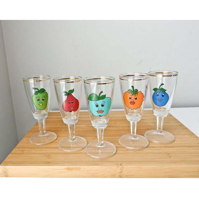 Cordial Fruit Face Shot Glasses - Set of 5 - Image 2 of 7