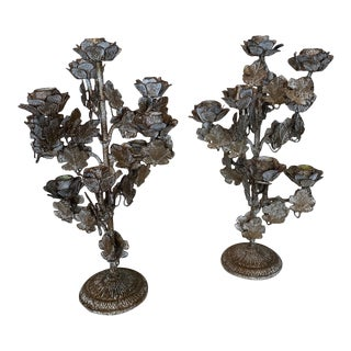 Vintage Floral French Glazed Candelabra - a Pair For Sale