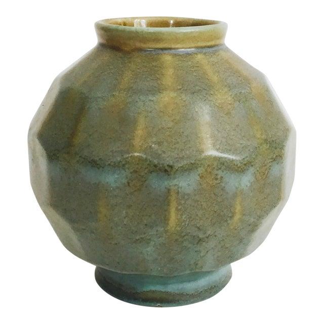 Vintage Faceted Pottery Vase For Sale