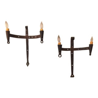 Vintage Gothic Wall Sconces - A Pair