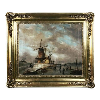 "Antique Framed Oil Painting on Canvas ""Wintry Landscape With Windmill"" For Sale"